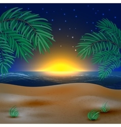 Sunset view in beach vector image
