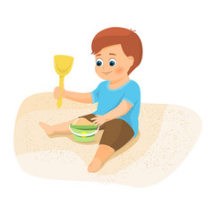 boy playing with sand vector image vector image