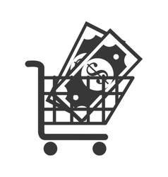 Cart buy money coins market isolated vector