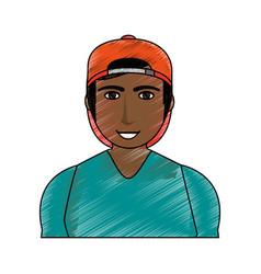 color pencil cartoon half body brunette man with vector image vector image
