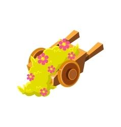 Decorative wooden wheel barrel with flowers vector