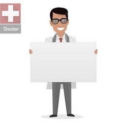 doctor on presentation white board for vector image