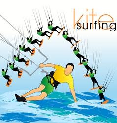kite surf set vector image vector image