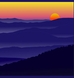 beautiful landscape sunset sky gold color with vector image