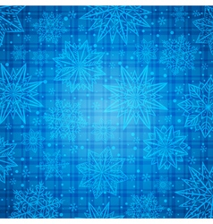 Christmas snowflakes and stars over blue checked vector image vector image