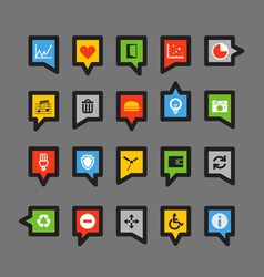 Color speech clouds with different icons vector image