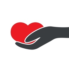 heart on the palm vector image