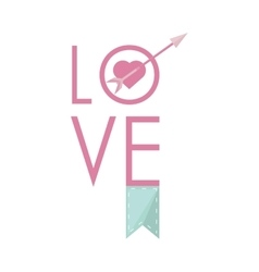 love greeting card with heart arrow and banner vector image