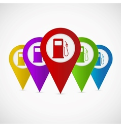Map pointer with gas station icon vector image