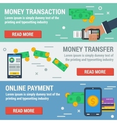 Three horizontal banners ONLINE PAYMENT vector image vector image
