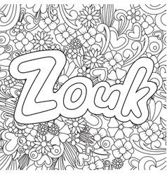 Zouk zen tangle doodle background with flowers vector