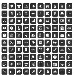 100 health icons set black vector