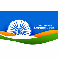 26th january happy republic day india concept vector
