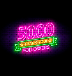 5000 5k followers neon sign on the wall vector image