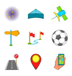 activity icons set cartoon style vector image
