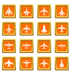 Airplane top view icons set orange square vector