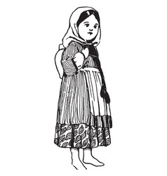 Armenian doll vintage engraving vector