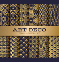 Art deco seamless pattern luxury geometric vector