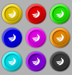 Banana icon sign symbol on nine round colourful vector