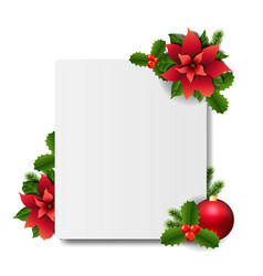 Banner with red christmas poinsettia white vector