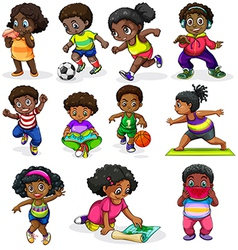 Black kids engaging in different activities vector