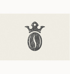 black silhouette coffee bean with crown high vector image