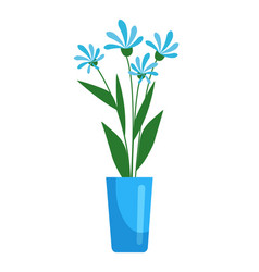 blue blooming flower in pot isolated on white vector image