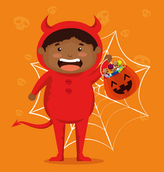 Boy dressed up as a little devil vector