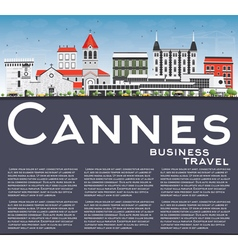 Cannes Skyline with Gray Buildings Blue Sky vector image