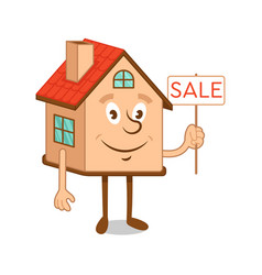 cartoon character house with sale sign vector image