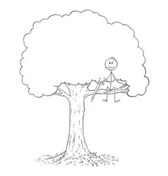 Cartoon of man with saw on tree cutting out the vector