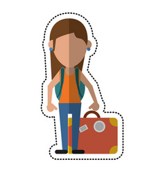Cartoon woman traveling hat and suitcase vector