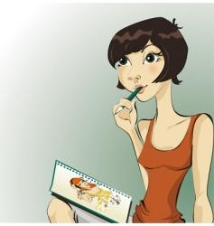 cartoonist vector image