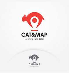 cat locator logo design vector image