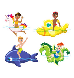 children and lifebuoys vector image