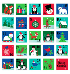 christmas advent calendar with penguin fox polar vector image
