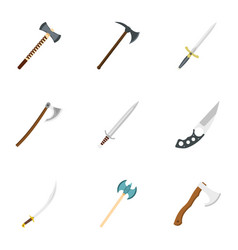 cold steel arms icon set flat style vector image