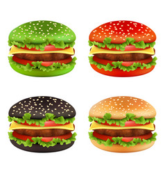 Colored burgers fast food black cheeseburger vector