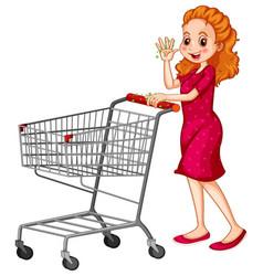 Coronavirus theme with woman pushing shopping vector