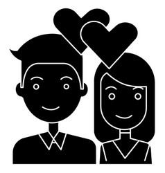 couple in love - hearts icon vector image