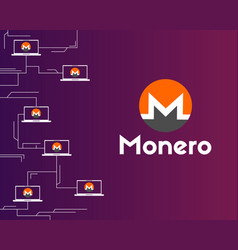 Cryptocurrency monero networking background vector