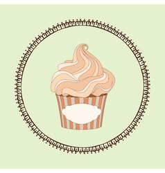 Cupcake and doodle frame vector