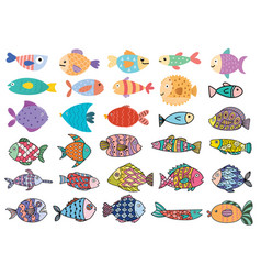 Cute fish big set clipart bundle with underwater vector