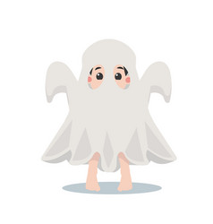 cute kid halloween character in a ghost costume vector image