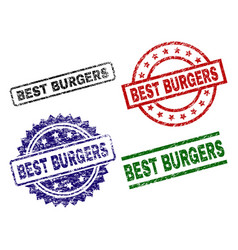 Damaged textured best burgers seal stamps vector