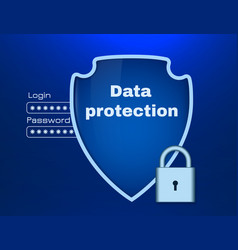 Data protection theme with shield and lock vector