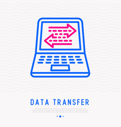 Data transfer on laptop display thin line icon vector