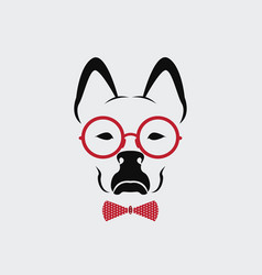 Dog wearing glasses on white background animal vector