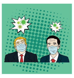 Donald trump meet joko widodo wearing healthy mask vector