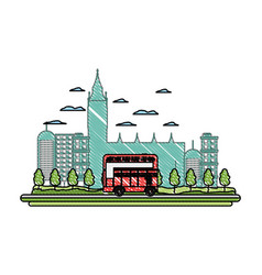 doodle london urban bus and nice cityscape vector image
